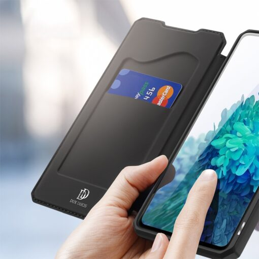 Samsung S20 FE kunstnahast kaaned kaarditaskuga DUX DUCIS Skin Pro must 2