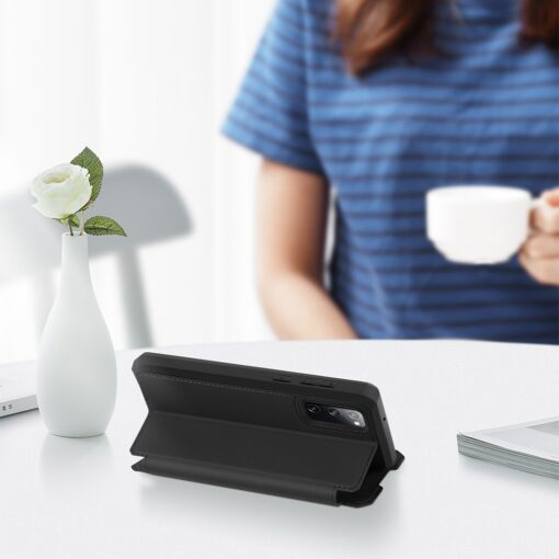 Samsung S20 FE kunstnahast kaaned kaarditaskuga DUX DUCIS Skin Pro must 5