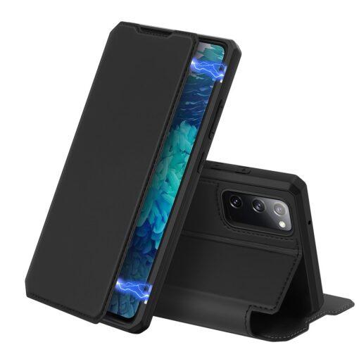 Samsung S20 FE kunstnahast kaaned kaarditaskuga DUX DUCIS Skin Pro must