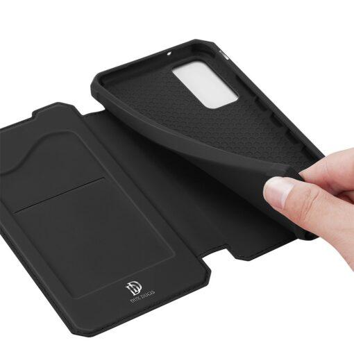 Samsung S20 FE kunstnahast kaaned kaarditaskuga DUX DUCIS Skin Pro must 6