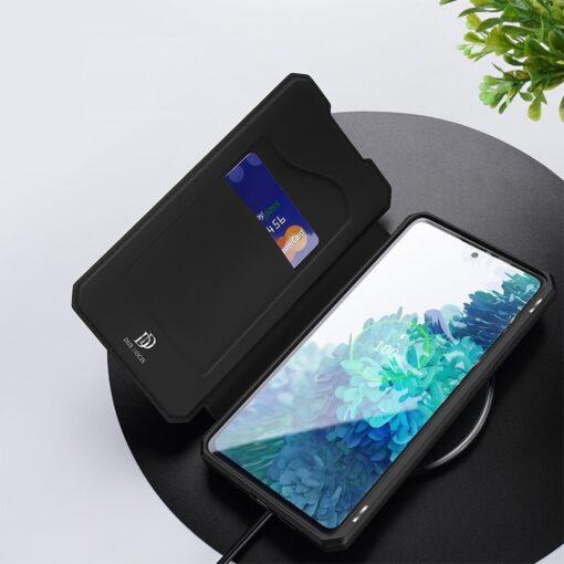Samsung S20 FE kunstnahast kaaned kaarditaskuga DUX DUCIS Skin Pro must 7