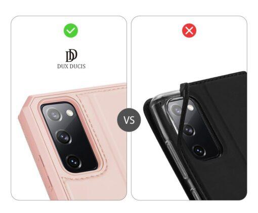 Samsung S20 FE kunstnahast kaaned kaarditaskuga DUX DUCIS Skin Pro roosa 10