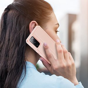 Samsung S20 FE kunstnahast kaaned kaarditaskuga DUX DUCIS Skin Pro roosa 13