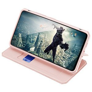 Samsung S20 FE kunstnahast kaaned kaarditaskuga DUX DUCIS Skin Pro roosa 16