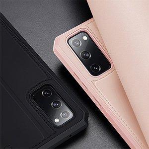 Samsung S20 FE kunstnahast kaaned kaarditaskuga DUX DUCIS Skin Pro roosa 17