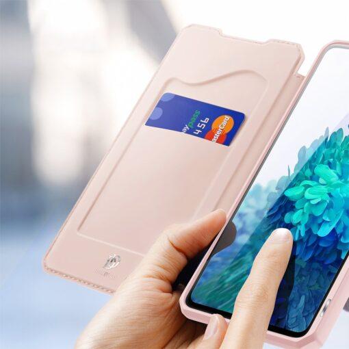 Samsung S20 FE kunstnahast kaaned kaarditaskuga DUX DUCIS Skin Pro roosa 2