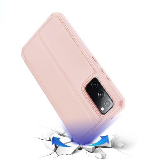 Samsung S20 FE kunstnahast kaaned kaarditaskuga DUX DUCIS Skin Pro roosa 3