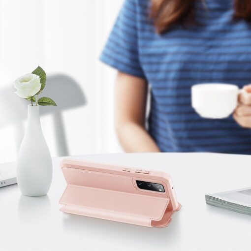 Samsung S20 FE kunstnahast kaaned kaarditaskuga DUX DUCIS Skin Pro roosa 5