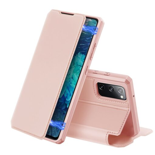 Samsung S20 FE kunstnahast kaaned kaarditaskuga DUX DUCIS Skin Pro roosa