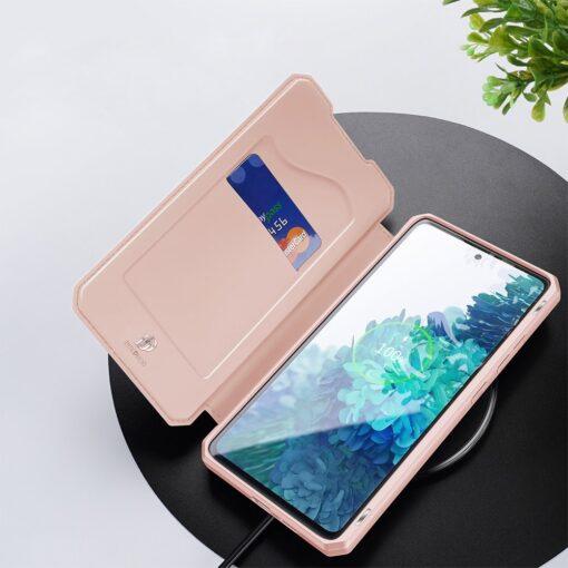 Samsung S20 FE kunstnahast kaaned kaarditaskuga DUX DUCIS Skin Pro roosa 7