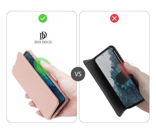 Samsung S20 FE kunstnahast kaaned kaarditaskuga DUX DUCIS Skin Pro roosa 9