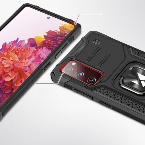 Samsung S20 FE tugev umbris Ring Armor plastikust taguse ja silikoonist nurkadega roosa 1