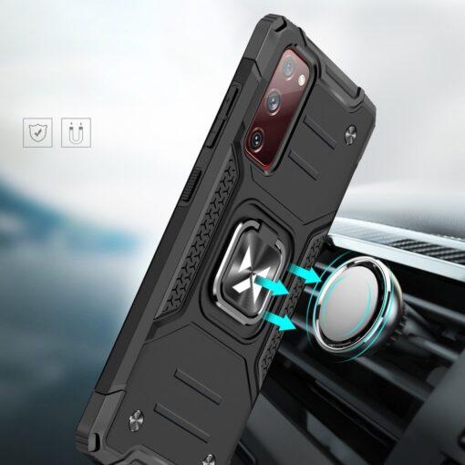 Samsung S20 FE tugev umbris Ring Armor plastikust taguse ja silikoonist nurkadega roosa 5