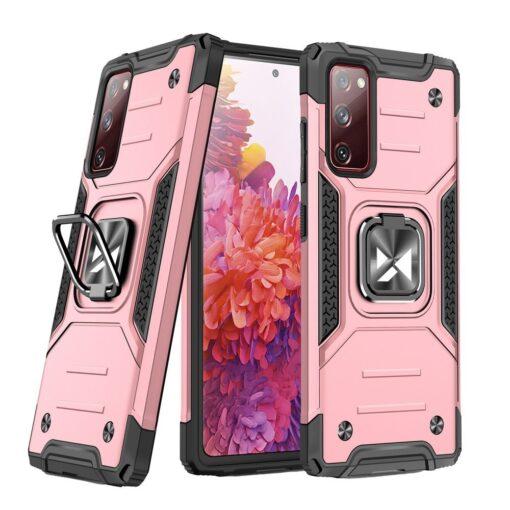 Samsung S20 FE tugev umbris Ring Armor plastikust taguse ja silikoonist nurkadega roosa