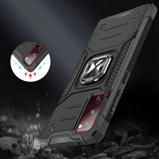 Samsung S20 FE tugev umbris Ring Armor plastikust taguse ja silikoonist nurkadega roosa 6