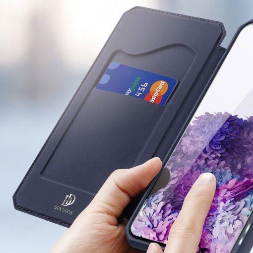 Samsung S20 Plus kunstnahast kaaned kaarditaskuga DUX DUCIS Skin Pro must 12