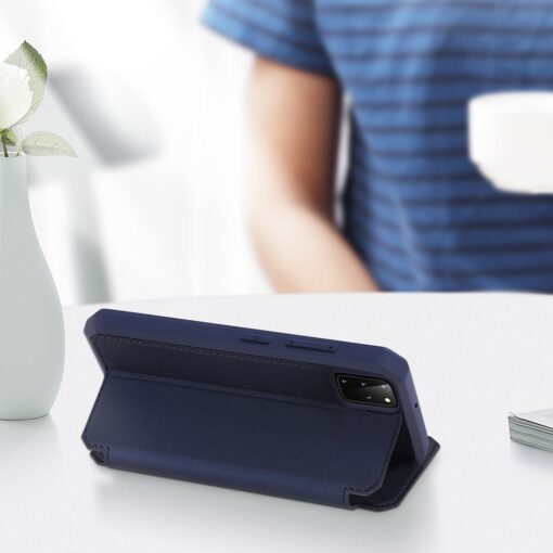 Samsung S20 Plus kunstnahast kaaned kaarditaskuga DUX DUCIS Skin Pro must 13