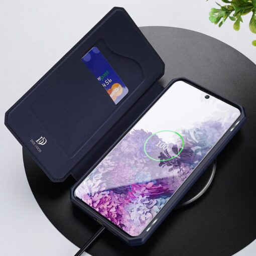 Samsung S20 Plus kunstnahast kaaned kaarditaskuga DUX DUCIS Skin Pro must 18