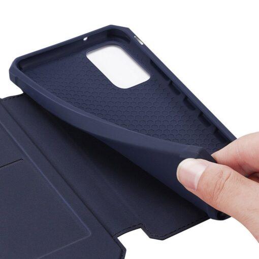 Samsung S20 Plus kunstnahast kaaned kaarditaskuga DUX DUCIS Skin Pro must 19