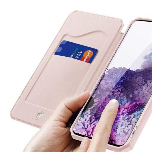 Samsung S20 Plus kunstnahast kaaned kaarditaskuga DUX DUCIS Skin Pro must 2