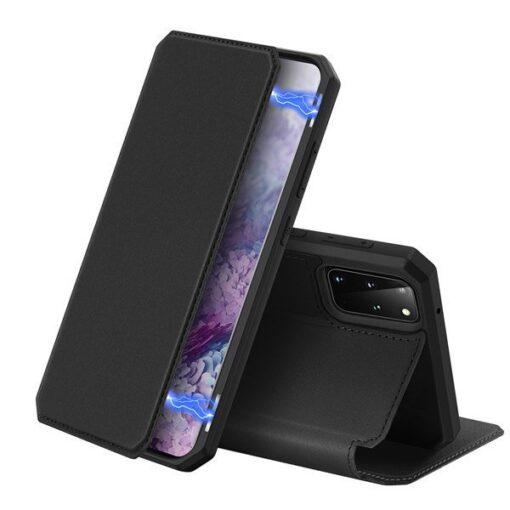 Samsung S20 Plus kunstnahast kaaned kaarditaskuga DUX DUCIS Skin Pro must