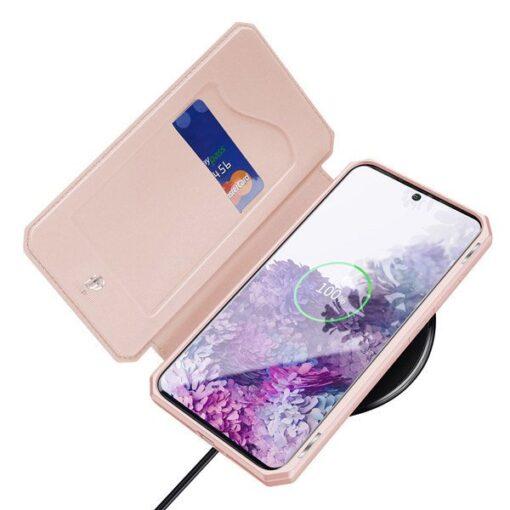 Samsung S20 Plus kunstnahast kaaned kaarditaskuga DUX DUCIS Skin Pro must 6