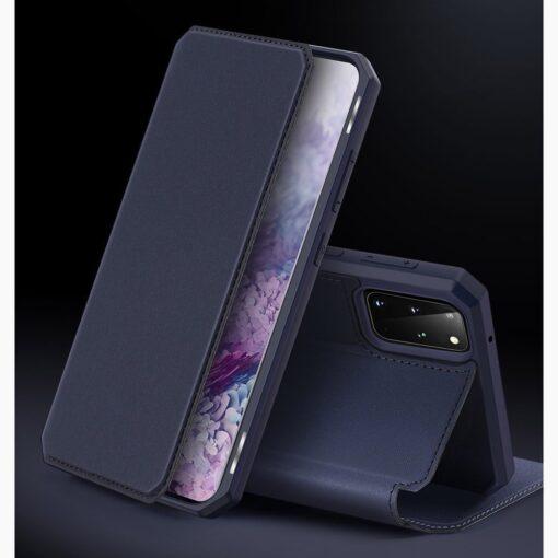 Samsung S20 Plus kunstnahast kaaned kaarditaskuga DUX DUCIS Skin Pro must 8