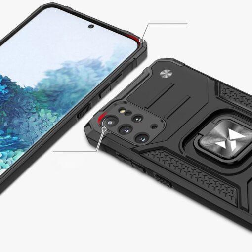 Samsung S20 Plus tugev umbris Ring Armor plastikust taguse ja silikoonist nurkadega must 1