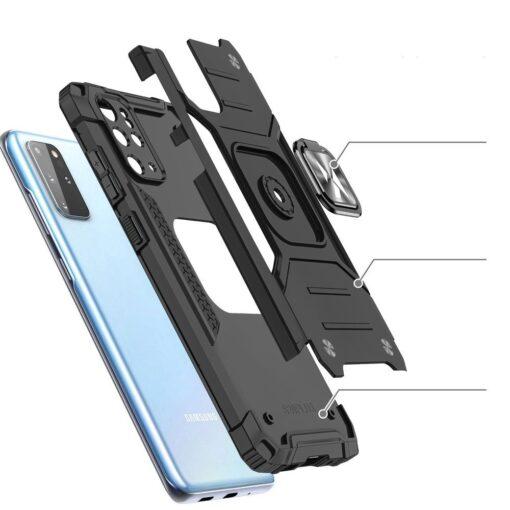Samsung S20 Plus tugev umbris Ring Armor plastikust taguse ja silikoonist nurkadega must 2