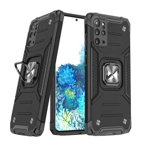 Samsung S20 Plus tugev umbris Ring Armor plastikust taguse ja silikoonist nurkadega must