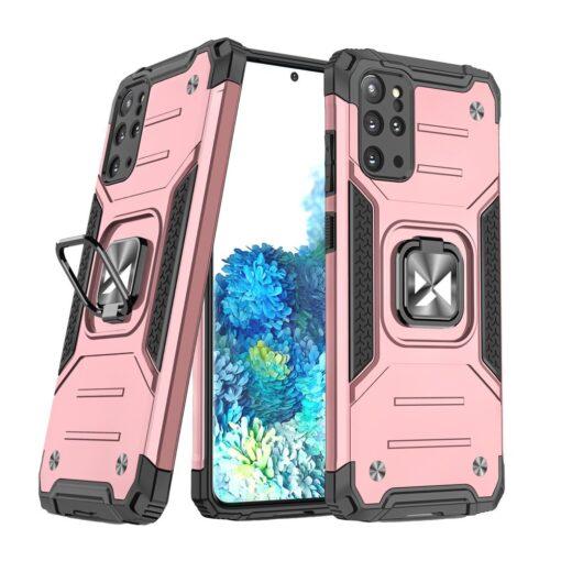 Samsung S20 Plus tugev umbris Ring Armor plastikust taguse ja silikoonist nurkadega roosa