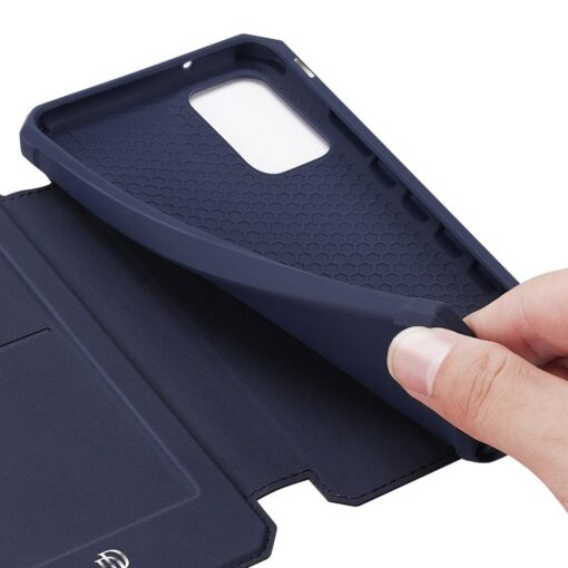Samsung S20 kunstnahast kaaned kaarditaskuga DUX DUCIS Skin Pro must 18