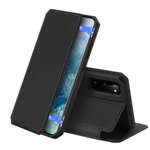 Samsung S20 kunstnahast kaaned kaarditaskuga DUX DUCIS Skin Pro must