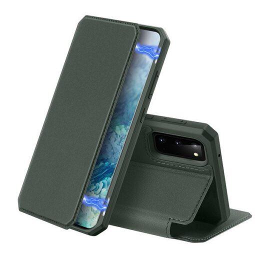 Samsung S20 kunstnahast kaaned kaarditaskuga DUX DUCIS Skin Pro roheline