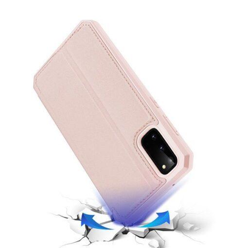 Samsung S20 kunstnahast kaaned kaarditaskuga DUX DUCIS Skin Pro roosa 2
