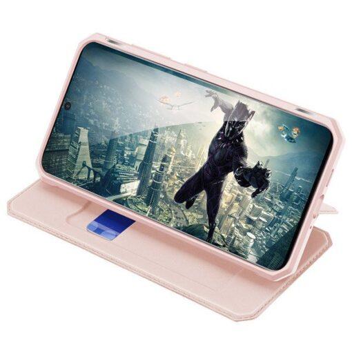 Samsung S20 kunstnahast kaaned kaarditaskuga DUX DUCIS Skin Pro roosa 3