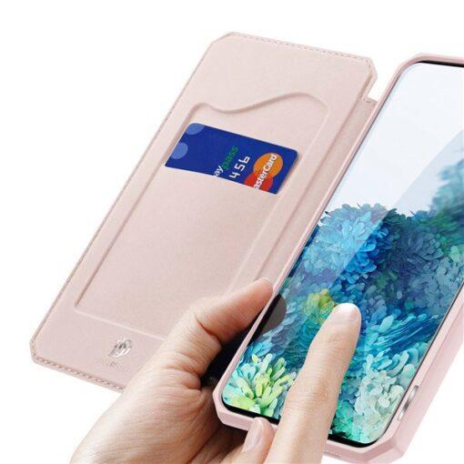 Samsung S20 kunstnahast kaaned kaarditaskuga DUX DUCIS Skin Pro roosa 4