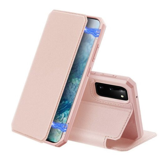 Samsung S20 kunstnahast kaaned kaarditaskuga DUX DUCIS Skin Pro roosa