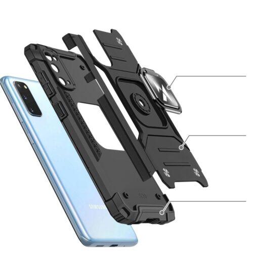 Samsung S20 tugev umbris Ring Armor plastikust taguse ja silikoonist nurkadega must 2