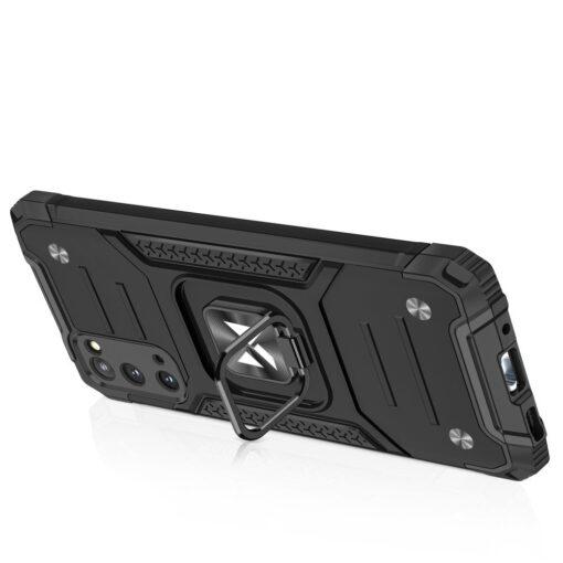Samsung S20 tugev umbris Ring Armor plastikust taguse ja silikoonist nurkadega must 3