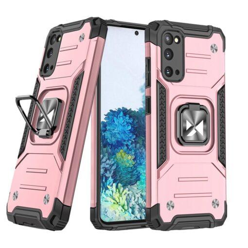 Samsung S20 tugev umbris Ring Armor plastikust taguse ja silikoonist nurkadega roosa
