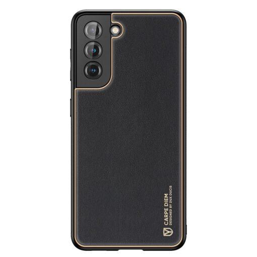 Samsung S21 Plus umbris Dux Ducis Yolo elegant kunstnahast ja silikoonist servadega must 1
