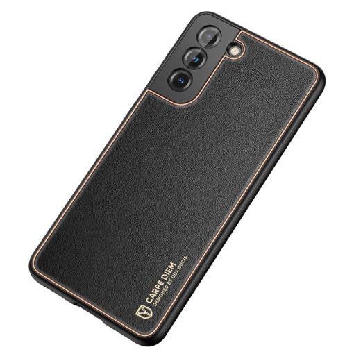 Samsung S21 Plus umbris Dux Ducis Yolo elegant kunstnahast ja silikoonist servadega must 3