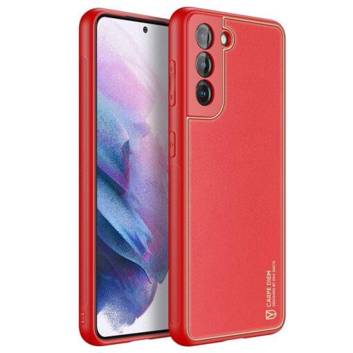 Samsung S21 Plus umbris Dux Ducis Yolo elegant kunstnahast ja silikoonist servadega punane