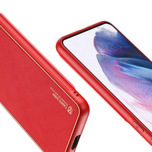Samsung S21 Plus umbris Dux Ducis Yolo elegant kunstnahast ja silikoonist servadega punane 7