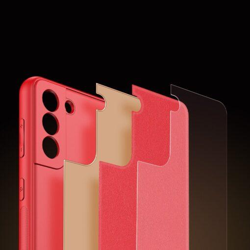 Samsung S21 Plus umbris Dux Ducis Yolo elegant kunstnahast ja silikoonist servadega punane 9