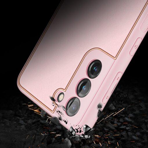 Samsung S21 Plus umbris Dux Ducis Yolo elegant kunstnahast ja silikoonist servadega roosa 10
