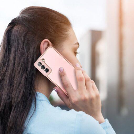 Samsung S21 Plus umbris Dux Ducis Yolo elegant kunstnahast ja silikoonist servadega roosa 12