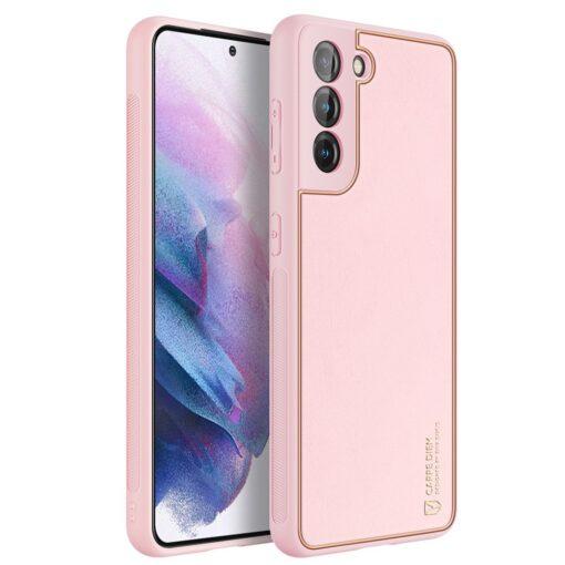 Samsung S21 Plus umbris Dux Ducis Yolo elegant kunstnahast ja silikoonist servadega roosa