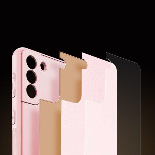 Samsung S21 Plus umbris Dux Ducis Yolo elegant kunstnahast ja silikoonist servadega roosa 7